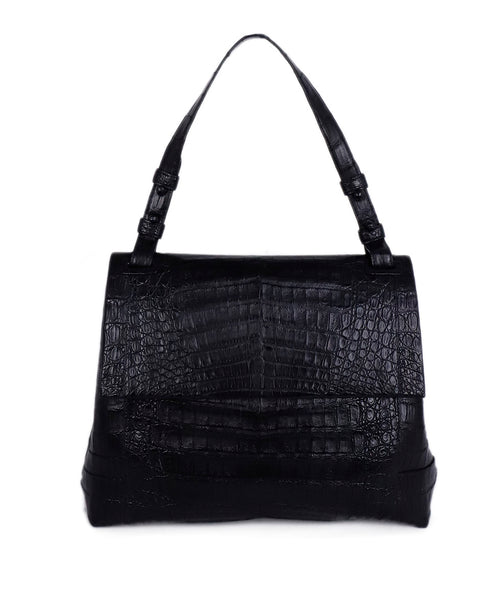 Nancy Gonzalez Black Crocodile Shoulder Bag Handbag 1