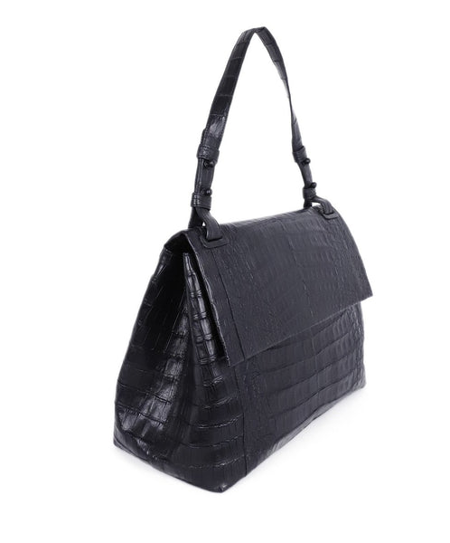 Nancy Gonzalez Black Crocodile Shoulder Bag Handbag 2