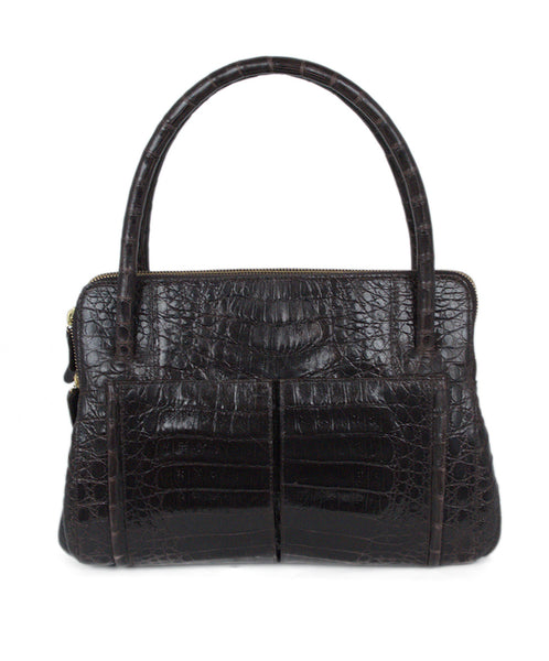 Nancy Gonzalez Brown Crocodile Satchel  Handbag 1