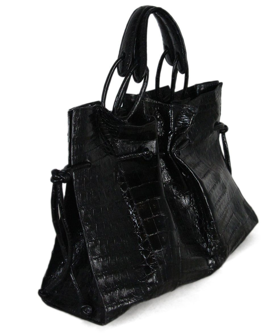 Nancy gonzalez black crocodile bag with dust bag 2