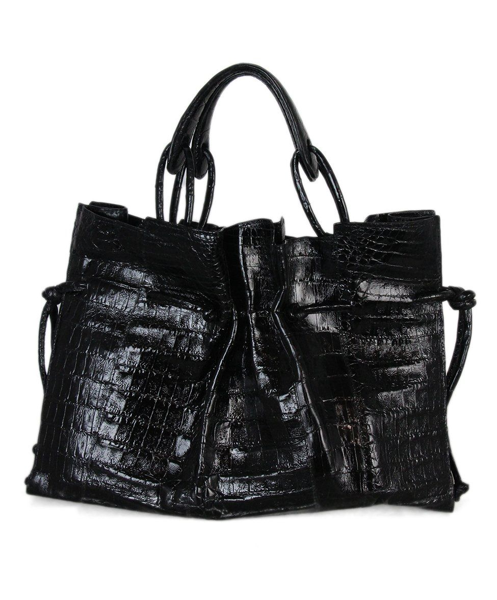 Nancy gonzalez black crocodile bag with dust bag 3