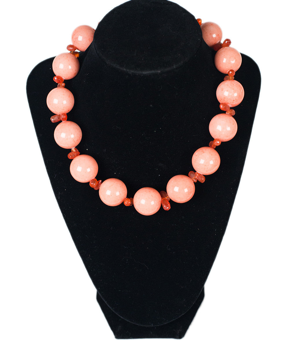 Carnelian Coral Color Beads Necklace - Michael's Consignment NYC  - 1