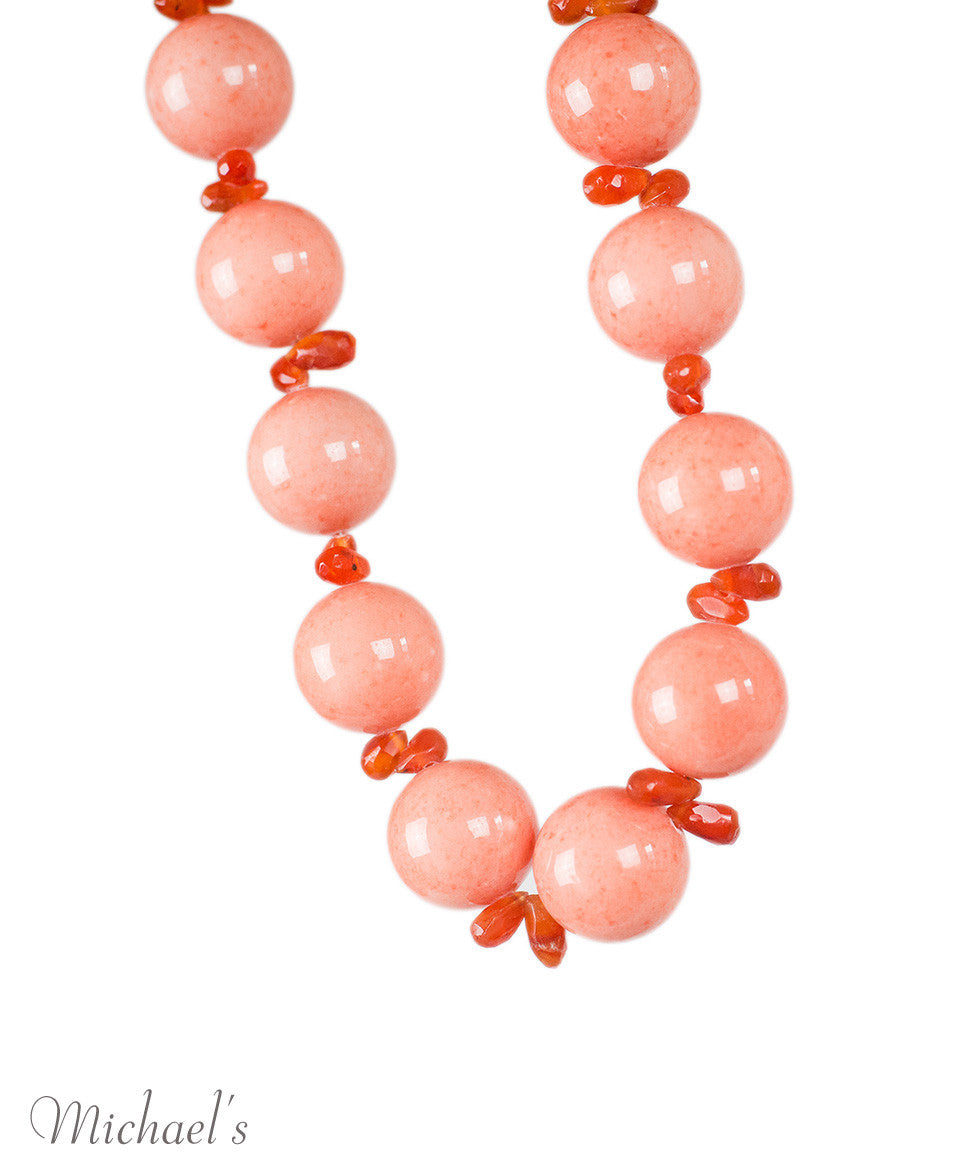 Carnelian Coral Color Beads Necklace - Michael's Consignment NYC  - 3