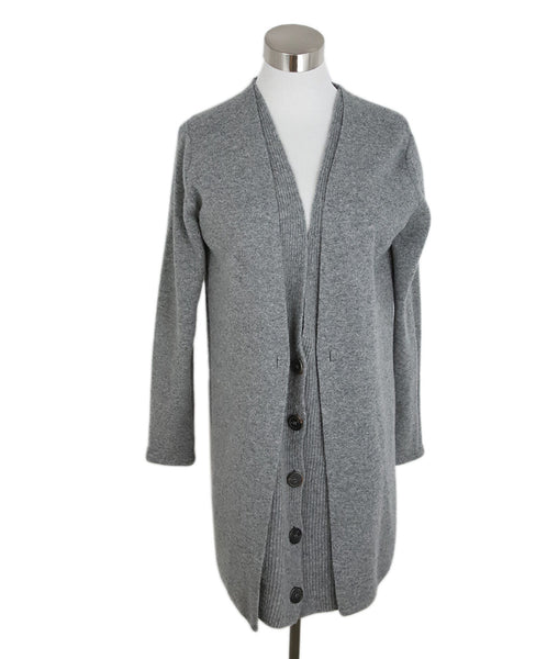 Nehera Grey Wool Cardigan with Double Layer Front Panel 1