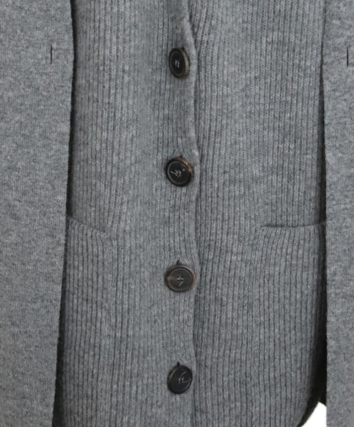 Nehera Grey Wool Cardigan with Double Layer Front Panel 5