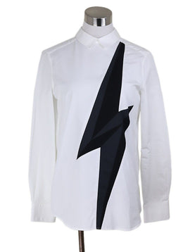 Blouse Neil Barrett White Cotton Black Trim Longsleeve Top