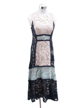 Nanette Lepore Blue Pink Polyester Lace Dress