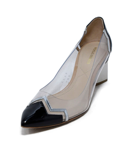 Roger Vivier Cream Taupe Print Patent Shoes Sz 38.5