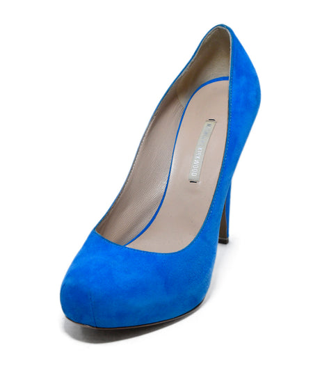 Hugo Boss Blue Suede Tan Leather Sling Backs Heels, Sz. 36
