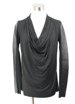 Nicole Miller Black Wool and Leather Sweater 1