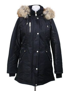 Nicole Benisti Black Down Coat with Fur Trim Hood