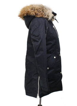 Nicole Benisti Black Down Coat with Fur Trim Hood 1