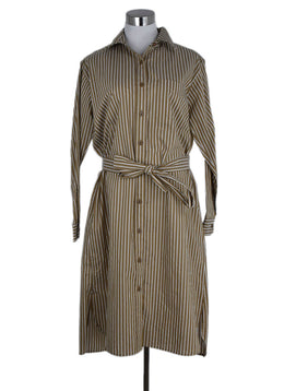Nili Lotan Brown White Stripes Cotton Dress 1