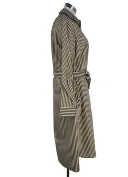 Nili Lotan Brown White Stripes Cotton Dress 2