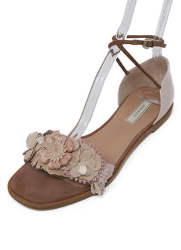Nina Ricci Pink Suede Leather Floral Sandals 1