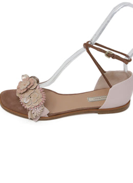 Nina Ricci Pink Suede Leather Floral Sandals 2
