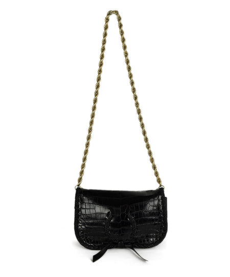 Henry Beguelin Black Grained Leather Magnets Handbag
