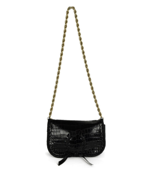 Nina Ricci Black Alligator Leather Handbag with Dust Cover | Nina Ricci