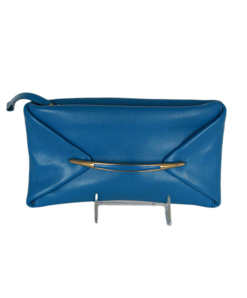 Nina Ricci blue leather clutch 1