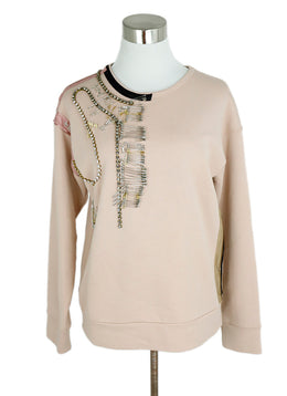 No.21 Neutral Peach Cotton Rhinestone Embellishment Sweater 1