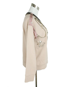 No.21 Neutral Peach Cotton Rhinestone Embellishment Sweater 2