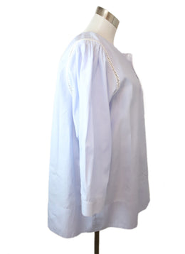Blouse O'Leary Blue White Pinstripes Cotton Top 2