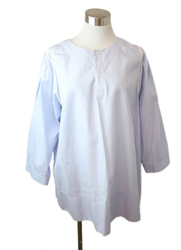 Blouse O'Leary Blue White Pinstripes Cotton Top 1