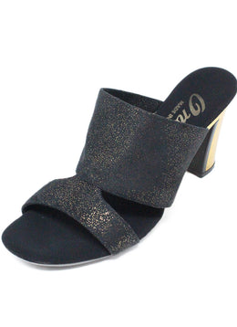 Onex  Black Gold Plated Suede Metallic Heels 1
