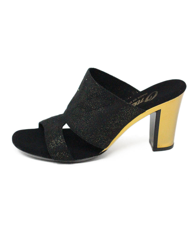 Onex  Black Gold Plated Suede Metallic Heels 2