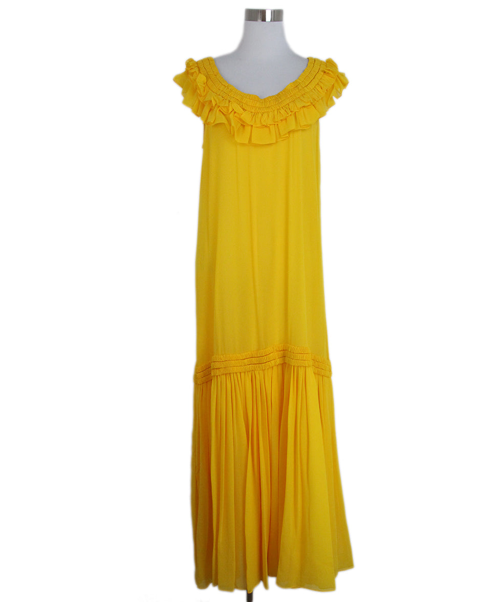 Opening Ceremony Yellow silk ruffle dress 1