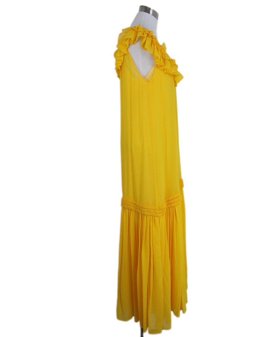 Opening Ceremony Yellow silk ruffle dress 2
