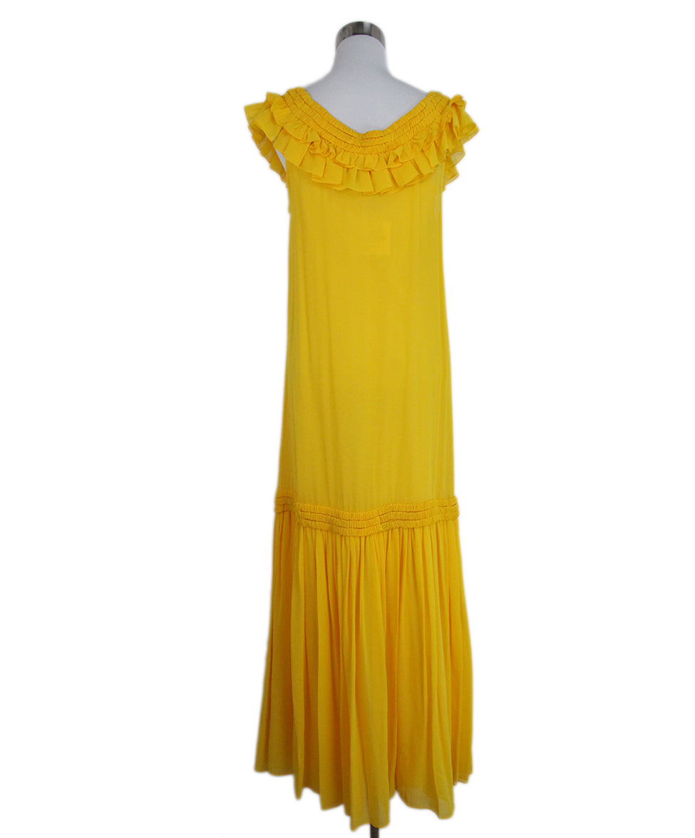 Opening Ceremony Yellow silk ruffle dress 3