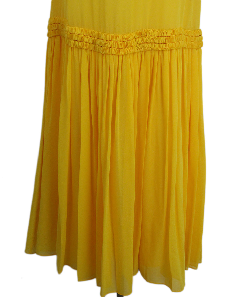 Opening Ceremony Yellow silk ruffle dress 7