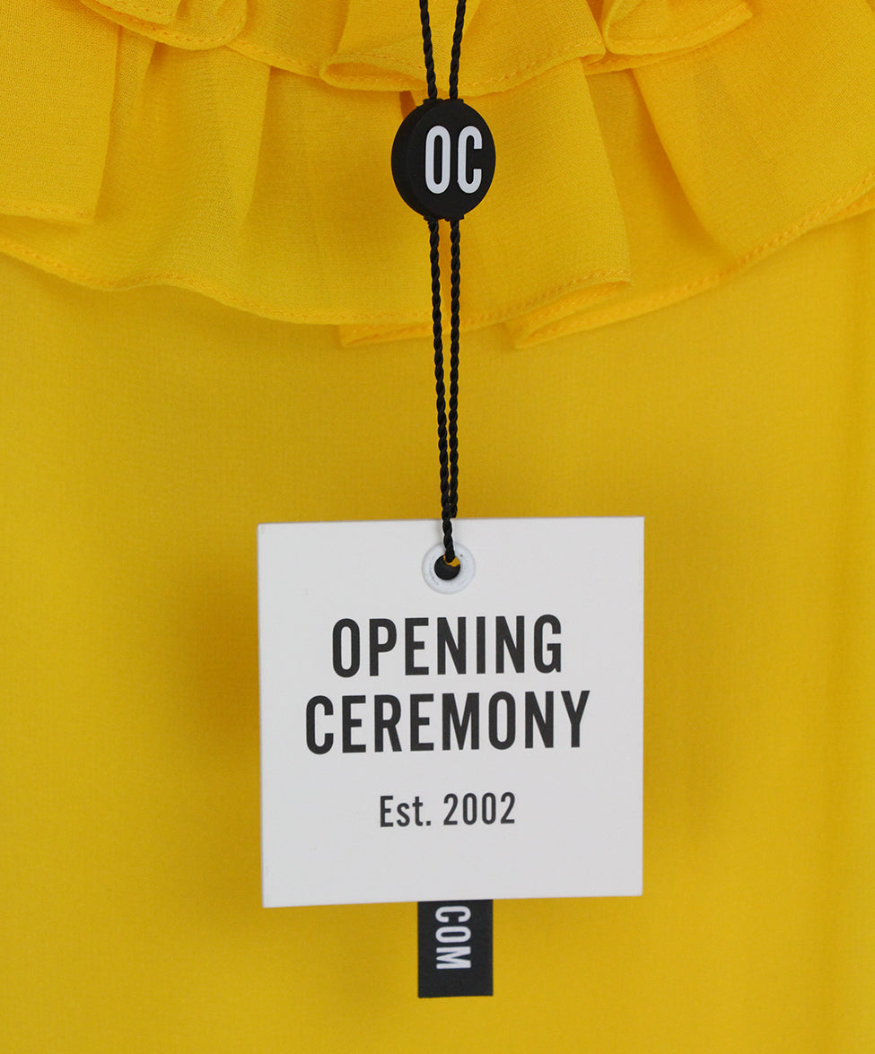Opening Ceremony Yellow silk ruffle dress 6