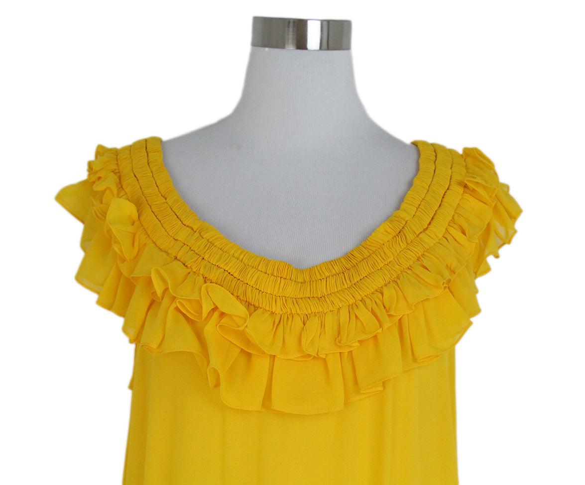 Opening Ceremony Yellow silk ruffle dress 8