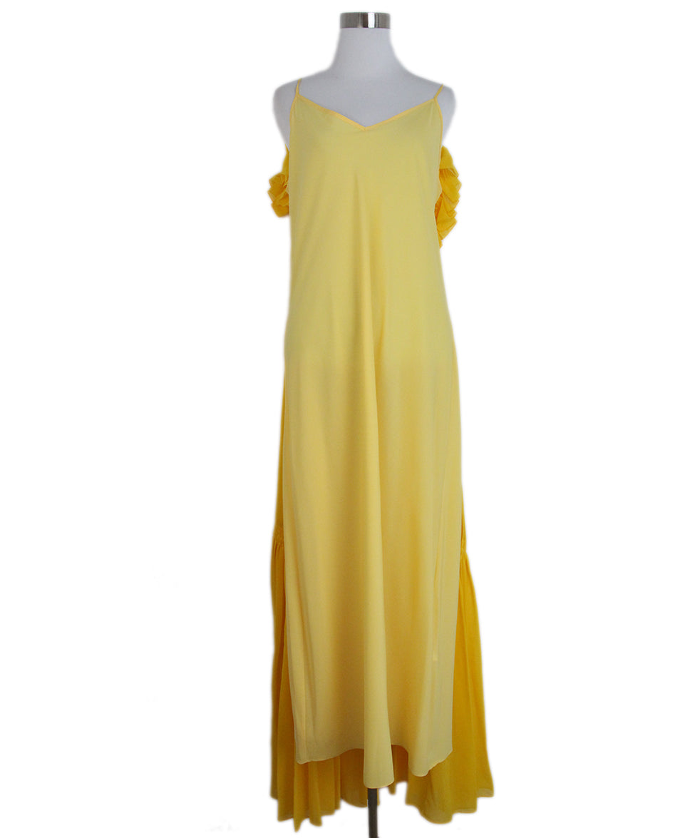 Opening Ceremony Yellow silk ruffle dress 4