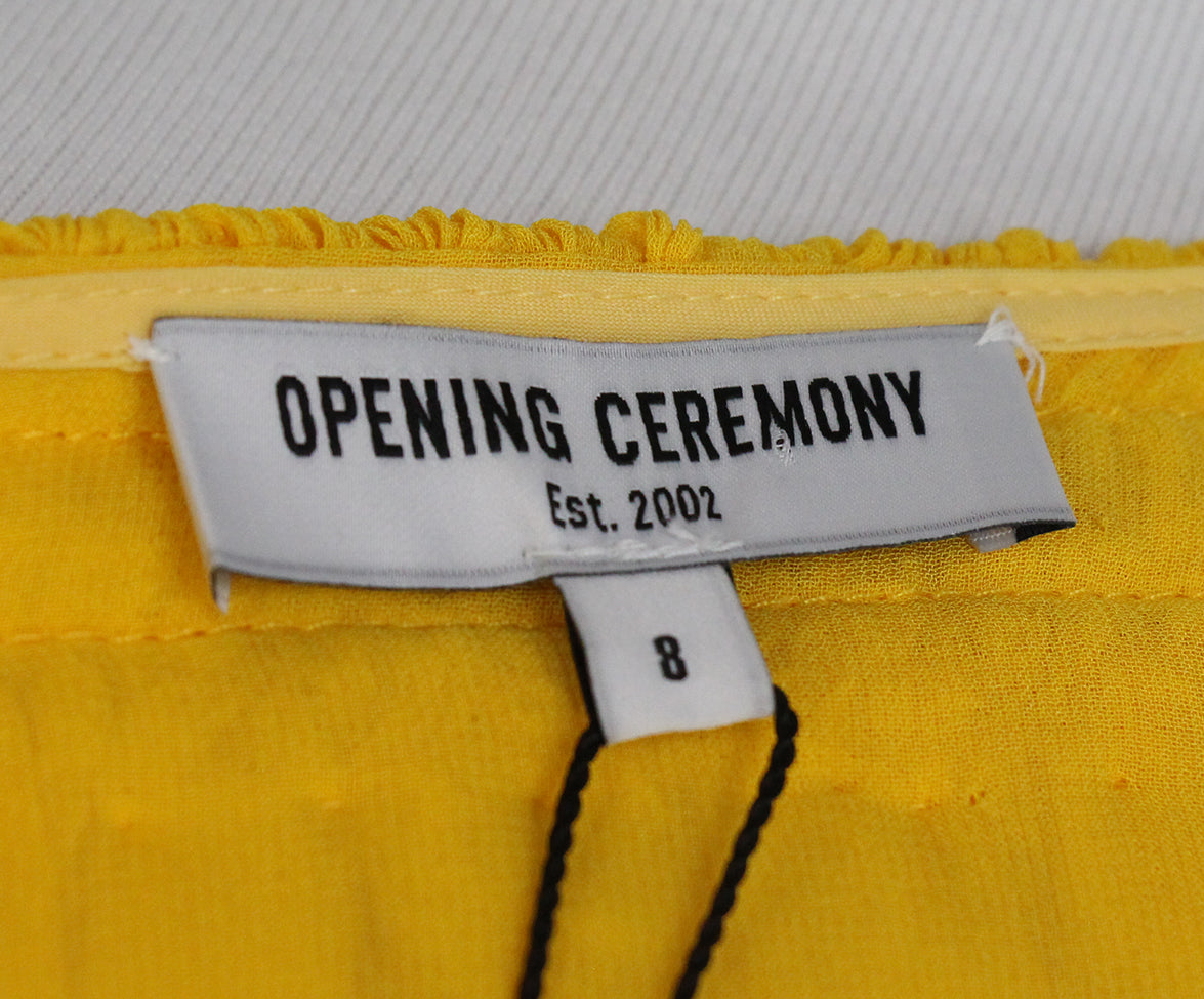 Opening Ceremony Yellow silk ruffle dress 5
