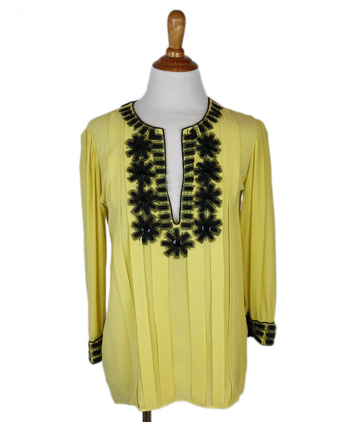 Oscar De La Renta Yellow Silk Black Accent Top Sz 6
