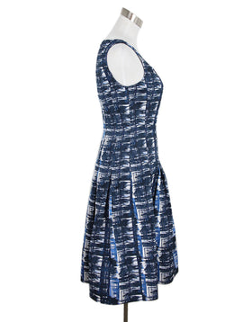 Oscar De La Renta Blue Navy White Polyester Dress 2