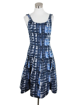 Oscar De La Renta Blue Navy White Polyester Dress 1