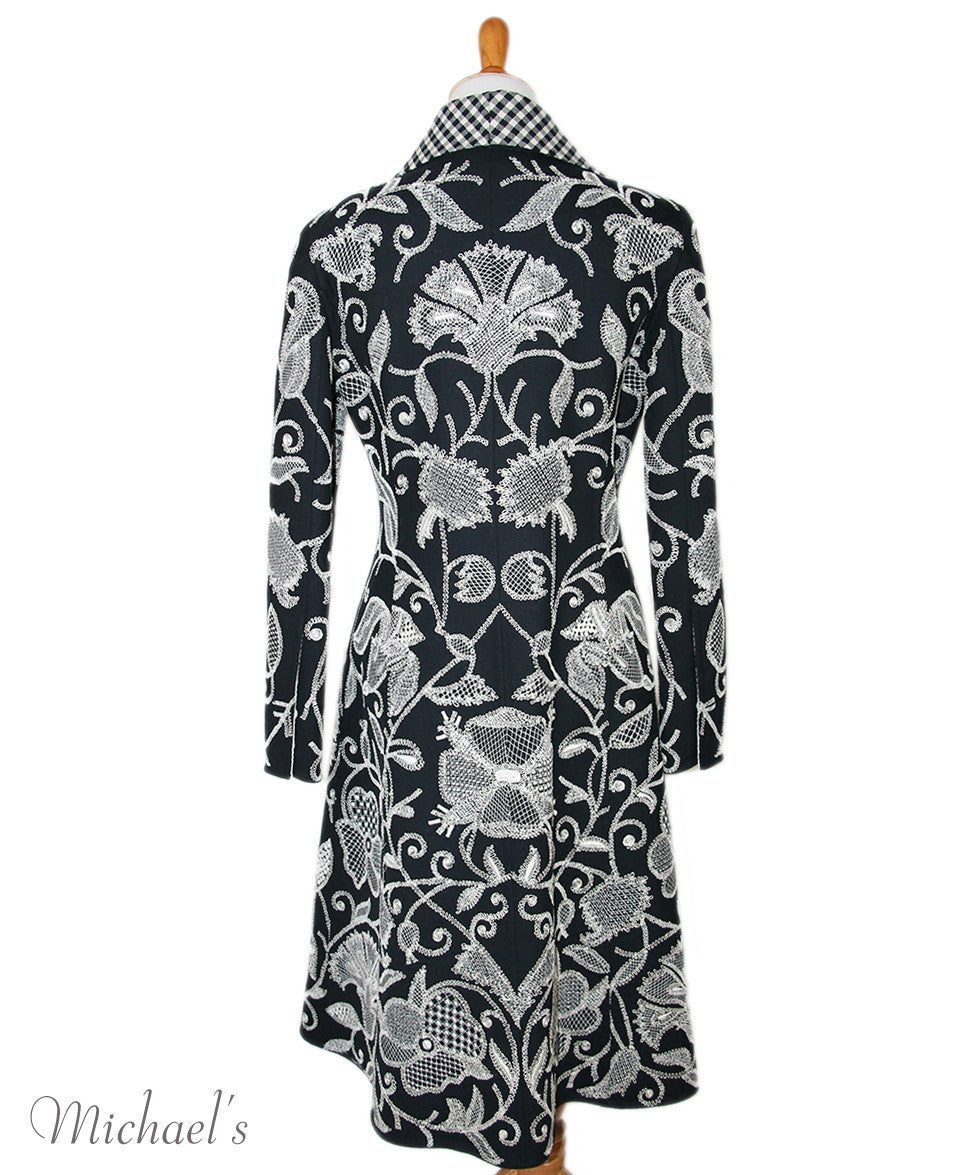 Oscar De La Renta Black White Embroidery Wool Outerwear Sz 8