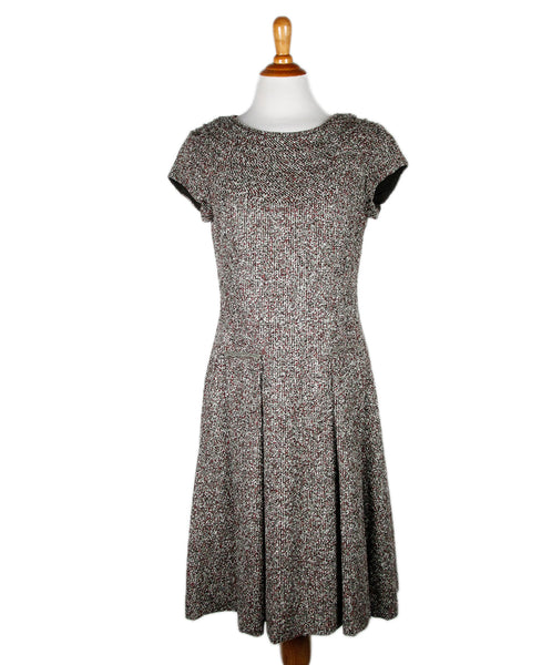 Oscar De La Renta Brown Green Alpaca Dress Sz 12