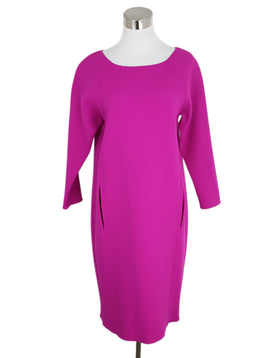 Oscar De La Renta Pink Fuchsia Wool Dress 2