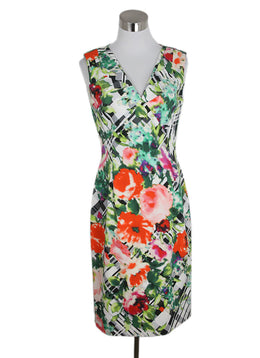 Oscar De La Renta Green Orange White Print Cotton Dress 1