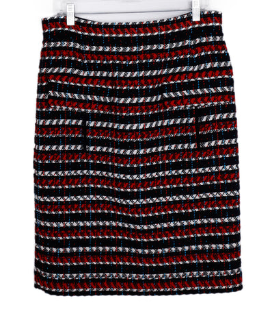 Oscar De La Renta Black Red White Wool Skirt 1