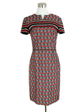 Oscar De La Renta Red Black White Wool Dress 1