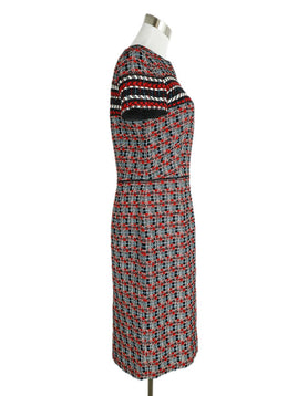 Oscar De La Renta Red Black White Wool Dress 2