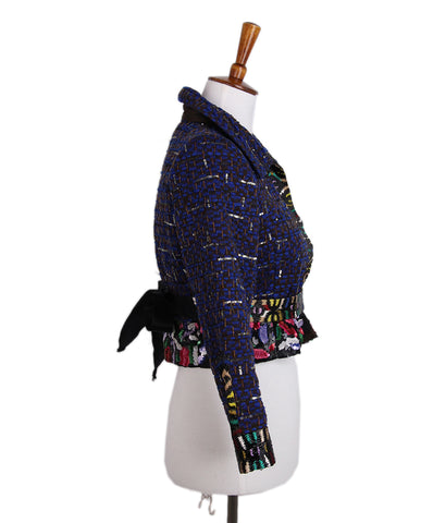 Oscar de La Renta Black Blue Beaded Satin Sequins Jacket 1