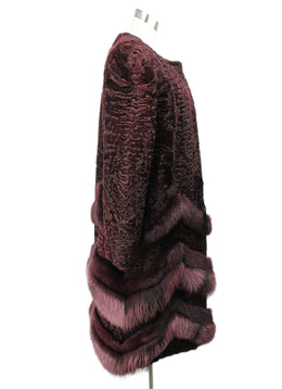 Oscar De La Renta Burgundy Mink Sable Lamb Fur Coat 2
