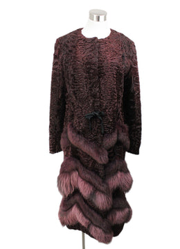 Oscar De La Renta Burgundy Mink Sable Lamb Fur Coat 1